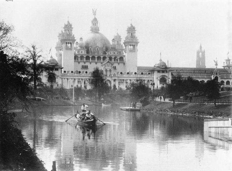View of boating pond in Kelvingrove Park, taken during the Glasgow International Exhibition in 1901.