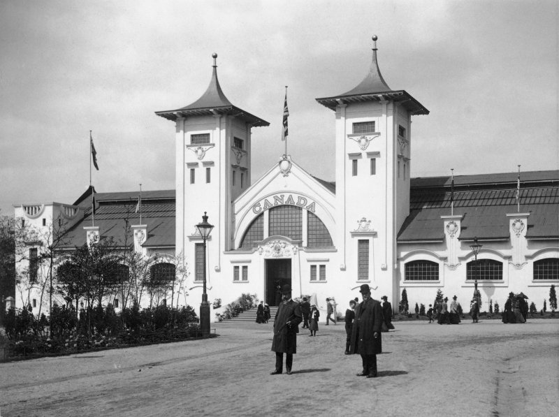 Digital copy of photograph of the Canadian Pavilion in Kelvingrove Park, taken during the Glasgow International Exhibition in 1901.