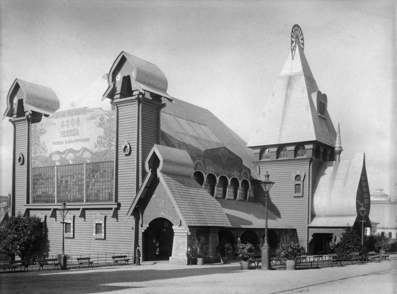 Digital copy of photograph of the Russian Wood Industries Pavilion at the Glasgow International Exhibition in 1901.