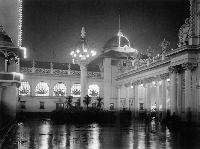 Digital copy of photograph of illuminated building, taken at the Glasgow International Exhibition in 1901.