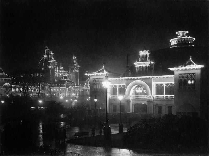 Digital copy of night-time photograph of illuminated buildings at the Glasgow International Exhibition in 1901.