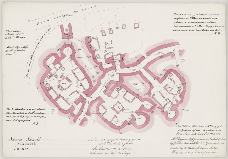 Plan of houses 1, 3, 4 and 5, Skara Brae, showing excavations by G Petrie 1865-67. Drawn by H Dryden 1879.