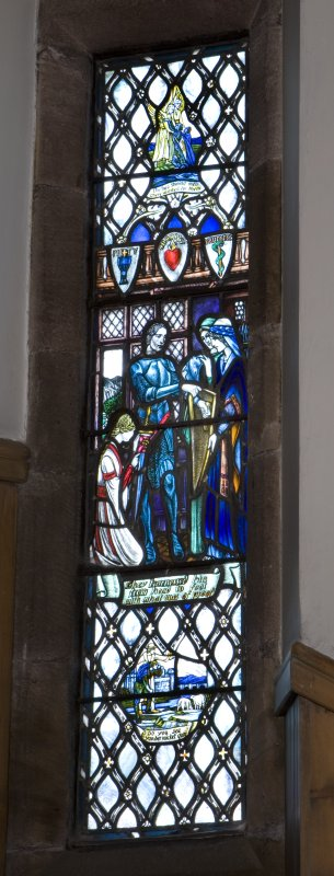 Interior. Vestibule. View of G Strathairn Memorial stained glass window by Douglas Strachan of Pilgrims Progress 1926