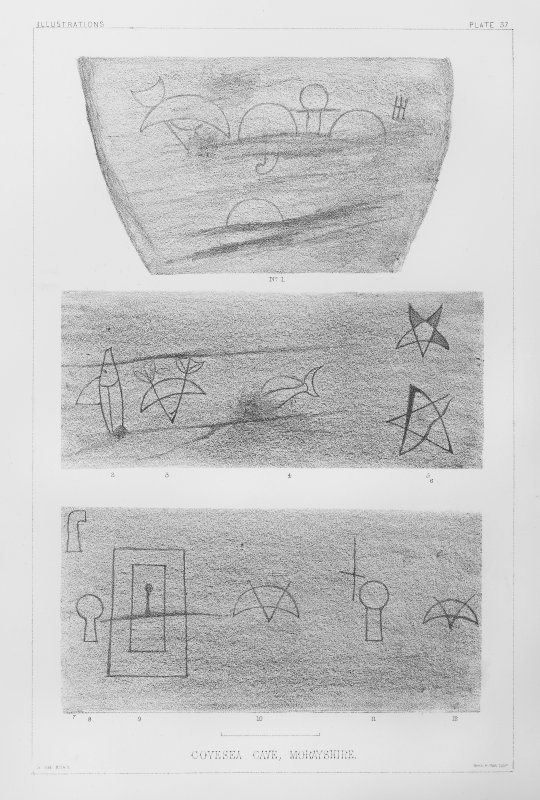 Pictish symbols and other sculptures at Sculptor's Cave, Covesea. Photographic copy  from 'The Sculptured Stones of Scotland', J Stuart, 1867, vol ii, 1867, plate 37.