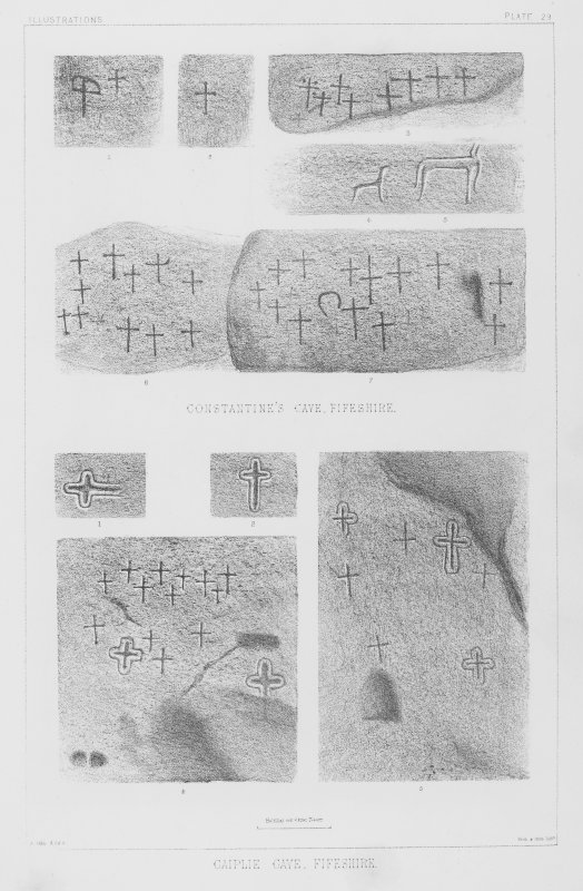 Incised crosses and other carvings in Constantine's Cave and 'The Coves', Caiplie, Fife. Photographic copy from 'The Sculptured Stones of Scotland', J Stuart, 1867, vol  ii, plate 29.