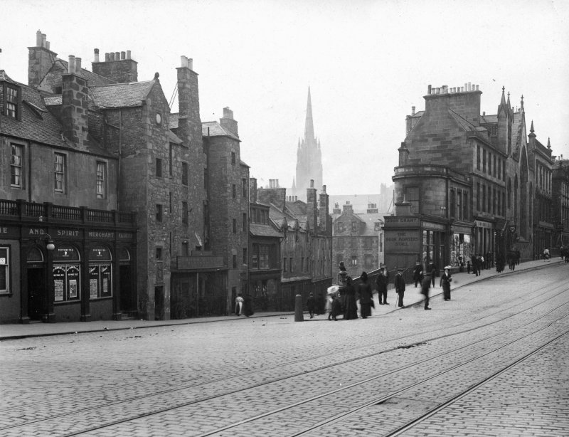 Photograph, with text; 'Candlemaker Row - General view from Lindsay Place' Edinburgh Photographic Society Survey of Edinburgh and District, Ward XIV George Square