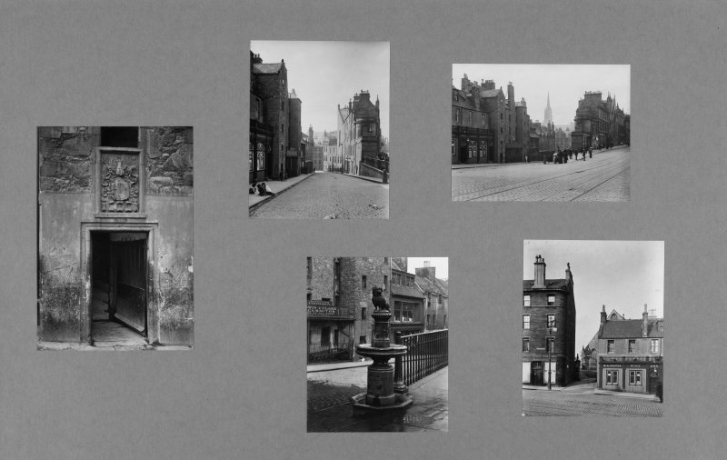Digital copy of inner page of card folder containing photographs of Candlemaker Row.  Edinburgh Photographic Society Survey of Edinburgh and District, Ward XIV George Square