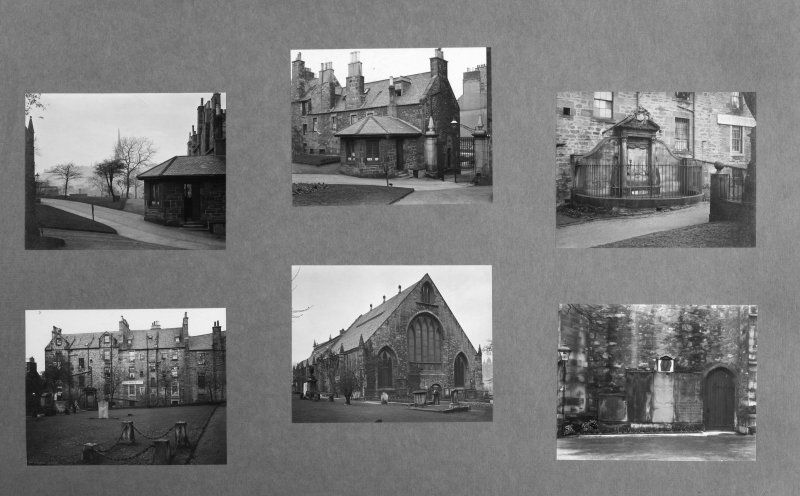 Digital copy of inner page of card folder containing photographs of Greyfriars Churchyard.  Edinburgh Photographic Society Survey of Edinburgh and District, Ward XIV George Square