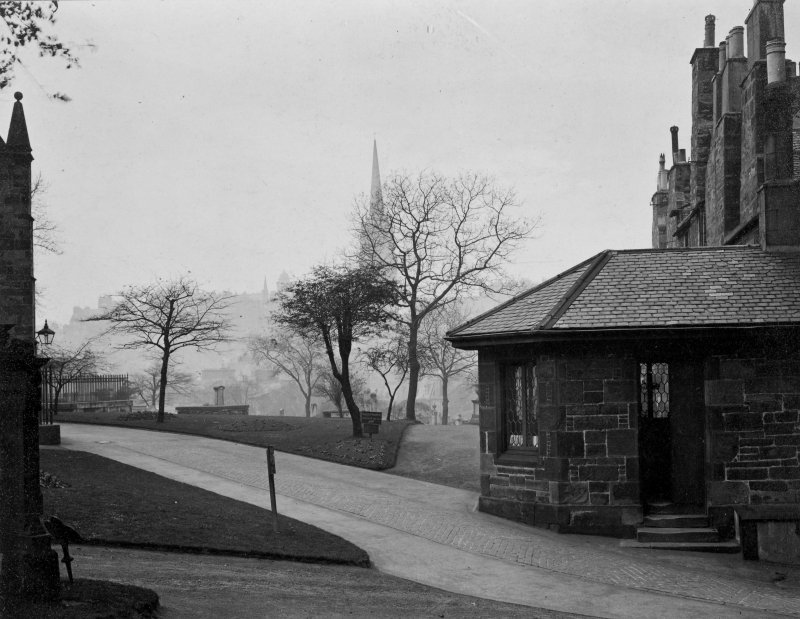 EPS/5/1  Photograph of Greyfriars Churchyard and lodge with text; 'Greyfriars Churchard  East Division  Entrance - General view showing walks to Church' Edinburgh Photographic Society Survey of Edinburgh and District, Ward XIV George Square