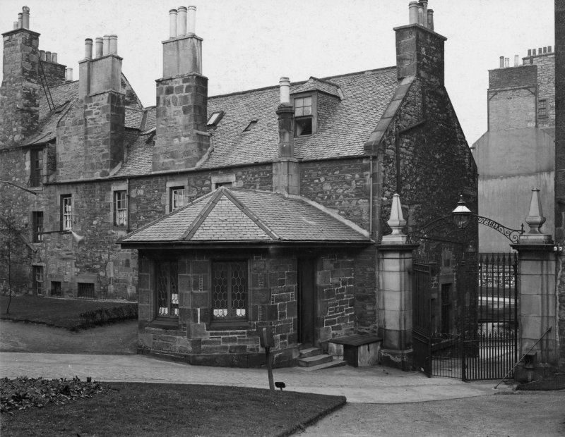 EPS/5/2  Photograph of entrance gates and lodge to churchyard, with text;'Greyfriars Chruchyard East Division  Entrance - General view showing gateway from Forrest Road' Edinburgh Photographic Society Survey of Edinburgh and District, Ward XIV George Square