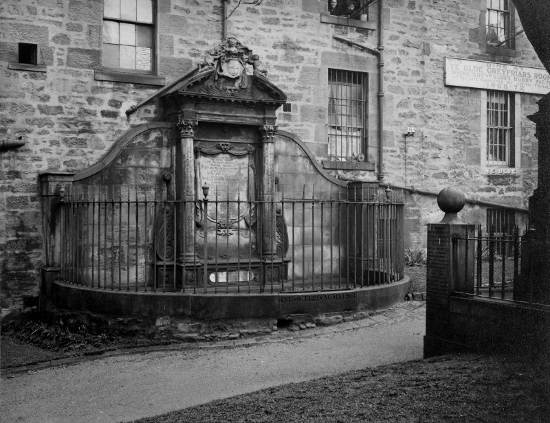 EPS/5/3  Photograph of gravestone/memorial, with text;'Greyfriars Chruchyard East Division  South East Wall' Edinburgh Photographic Society Survey of Edinburgh and District, Ward XIV George Square