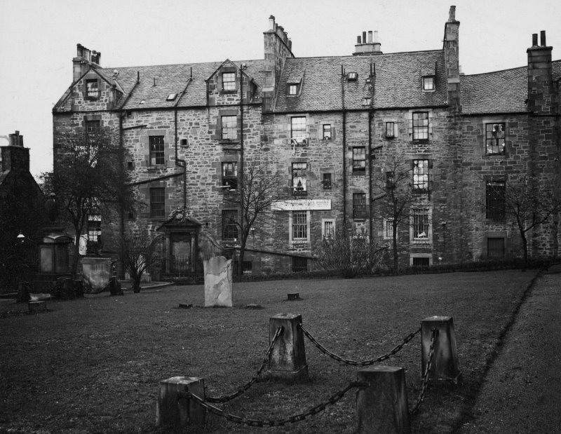 EPS/5/4  Photograph of gravestones, with text; 'Greyfriars Churchyard  East Division  General view of S. E. wall' Edinburgh Photographic Society Survey of Edinburgh and District, Ward XIV George Square