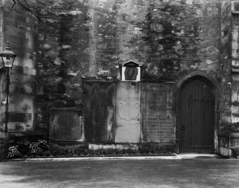 EPS/5/6  Photograph, with text; 'Greyfriars Churchyard  East Division  Monuments on wall of Church' Edinburgh Photographic Society Survey of Edinburgh and District, Ward XIV George Square