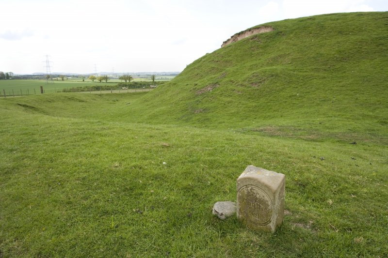 Motte earthworks and commemorative stone (St Margaret's walk). View from ESE