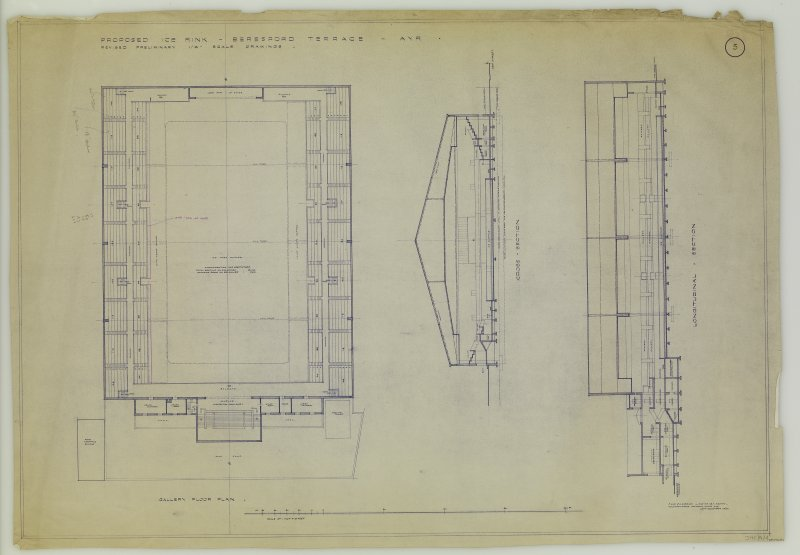 Revised preliminary gallery floor plan and sections. Title: 'Proposed Ice Rink Beresford Terrace, Ayr.' Insc: 'J. And J. A. Carrick, L. and A.R.I.B.A. Archts. Wellington House, 7 Alloway Place, Ayr 14 December 1937.'