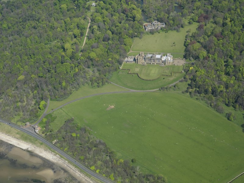 Oblique aerial view centred on Gosford House and policies, taken from the WSW.