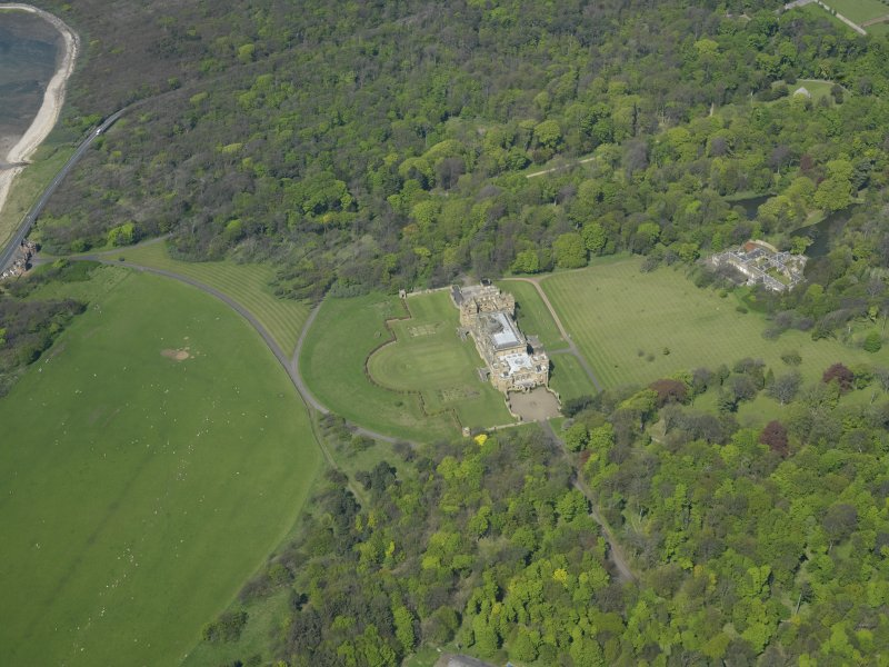 Oblique aerial view centred on Gosford House and policies, taken from the S.