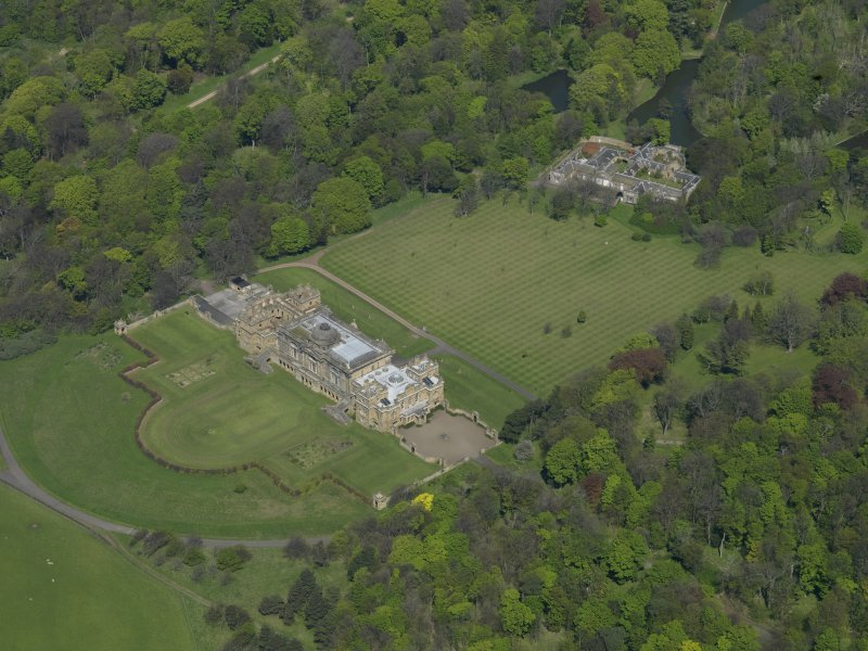 Oblique aerial view centred on Gosford House and policies, taken from the SSW.