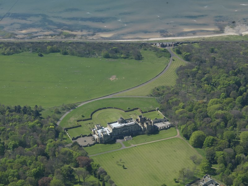 Oblique aerial view centred on Gosford House and policies, taken from the E.