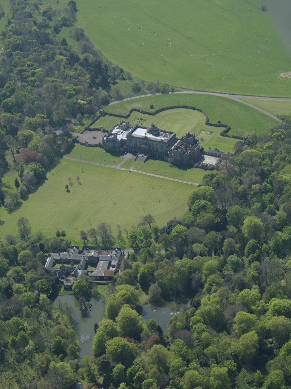 Oblique aerial view centred on Gosford House and policies, taken from the NE.