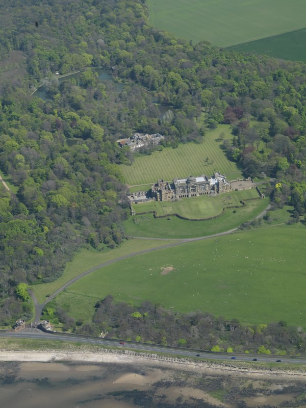 Oblique aerial view centred on Gosford House and policies, taken from the WNW.