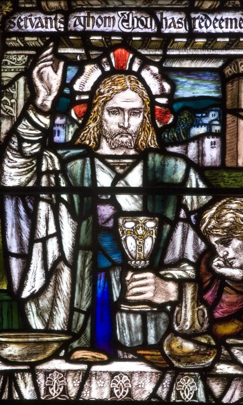 Detail of stained glass East window, 'Te Deum' by Douglas Strachan 1910, in the Parish Church Of The Holy Trinity, St Andrews.