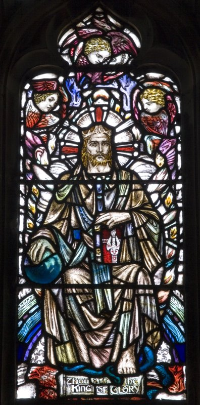 Interior. Detail of stained glass East window Te Deum by Douglas Strachan 1910