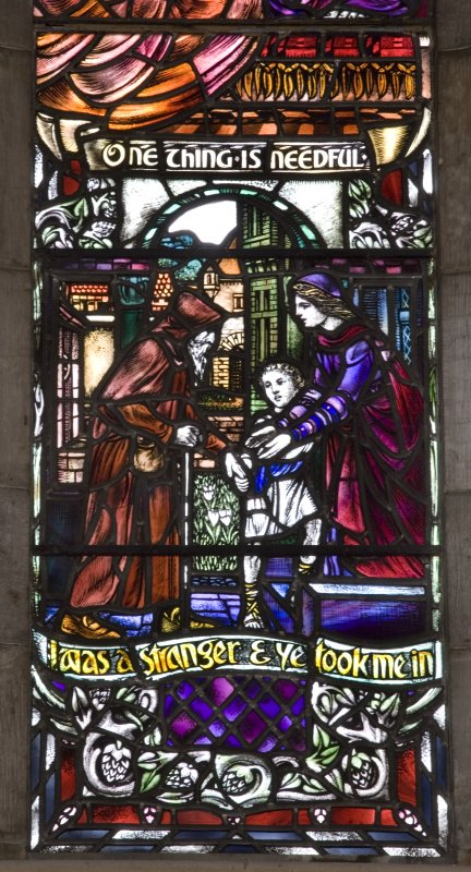 Interior. Detail of stained glass West window Women in the Bible by Douglas Strachan 1914