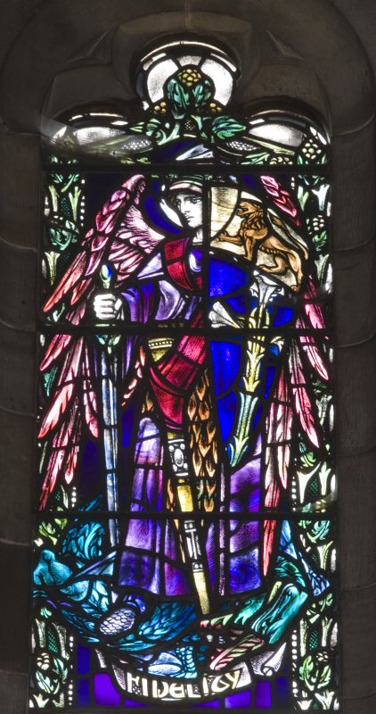 Detail of stained glass West window, 'Women in the Bible' by Douglas Strachan 1914, in the Parish Church Of The Holy Trinity, St Andrews.