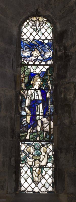 Interior. North Aisle West View of stained glass windowChrist as A child by Douglas Strachan 1912