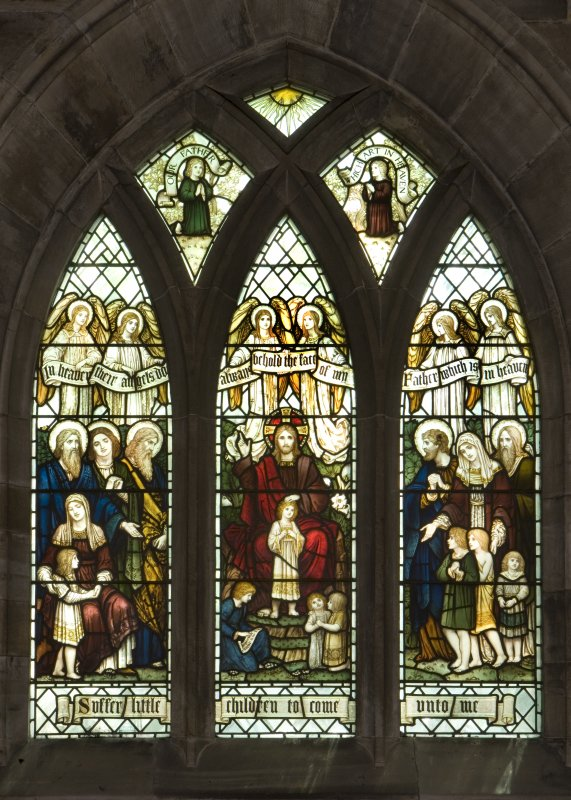 Interior. South Aisle  West window View of stained glass window Suffer the little Children by James Powell & Sons c.1912
