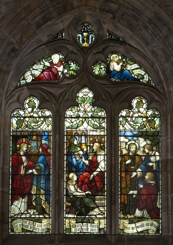 Interior. South Aisle window View of stained glass window Christ's Mission by James Powell & Sons c.1912