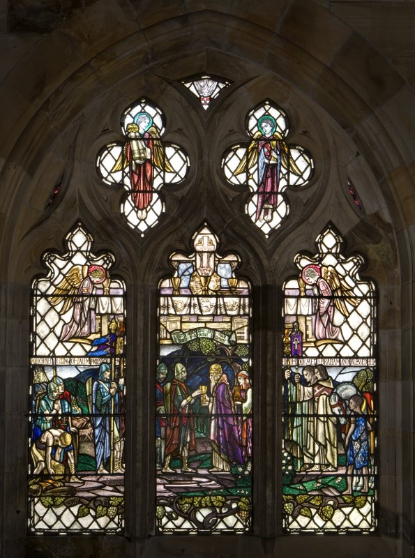 Interior. North Aisle View of stained glass window Abraham and Melchisedek by Douglas Strachan after 1922