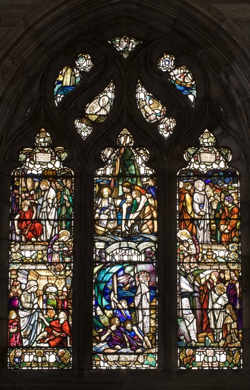 Interior. South Aisle East window View of stained glass window The Miracles of Christ by Douglas Strachan 1910