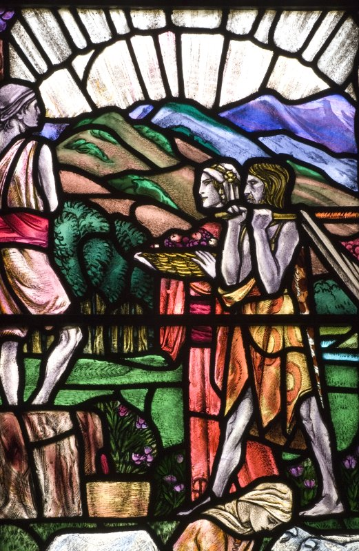 Interior. North Aisle Detail of stained glass  The Minor Prophets by Douglas Strachan c.1920