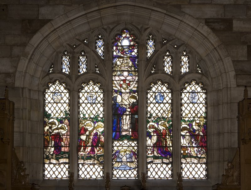 Interior. Hunter Aisle East window View of stained glass window Scenes from the Life of Christ by Louis Davis 1911