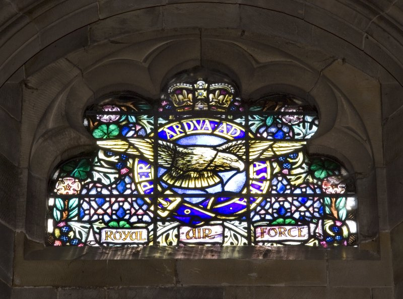 Interior. Clearstorey View of stained glass window Regimental Badges by Alexander Strachan