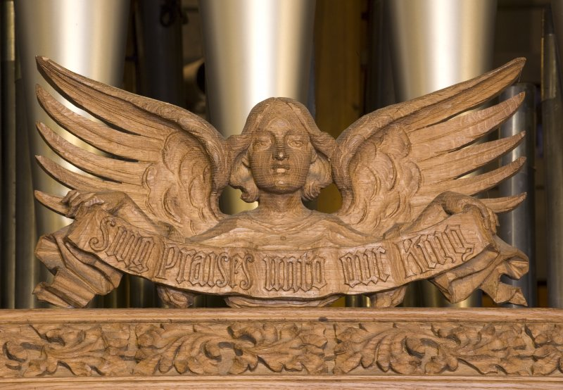 Detail of carved angel at The Parish Church of the Holy Trinity, St Andrews.