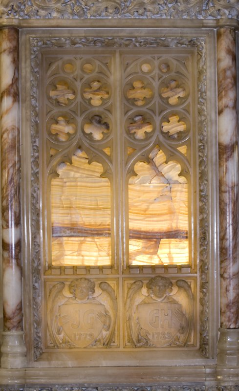 Interior. Detail of alabaster panel on the pulpit