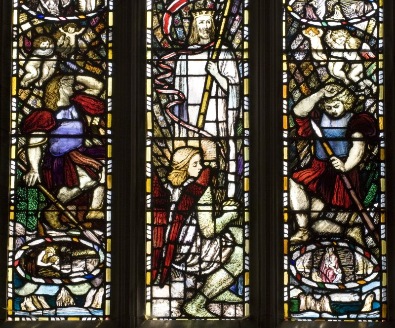 Interior. Hunter Aisle Detail of stained glass window Scenes from the Life of Christ by Louis Davis 1911