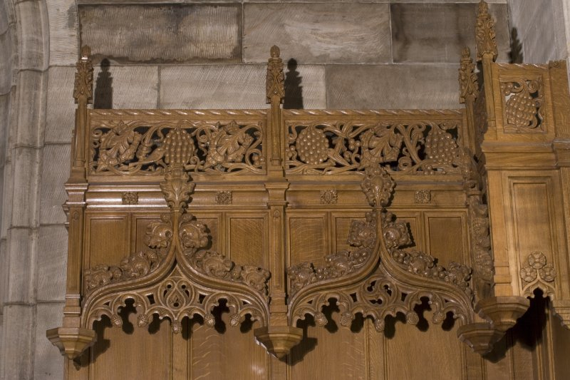 Interior. Detail of carved canopy