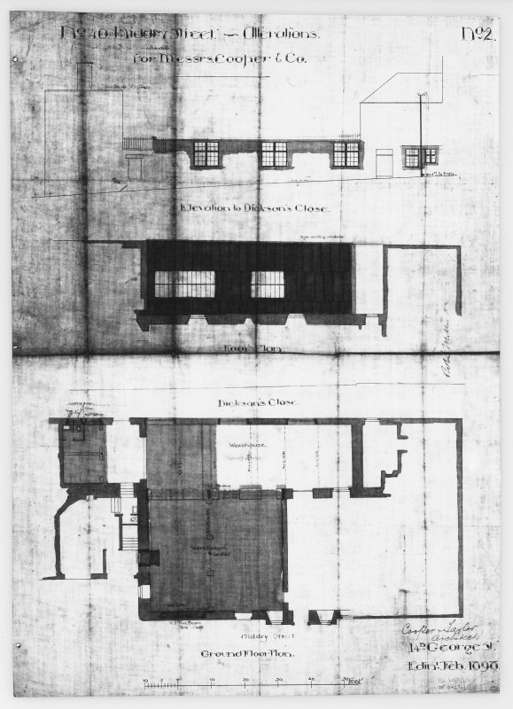 Ground Floor Plan, Roof Plan and Elevation to Dickson's Close.