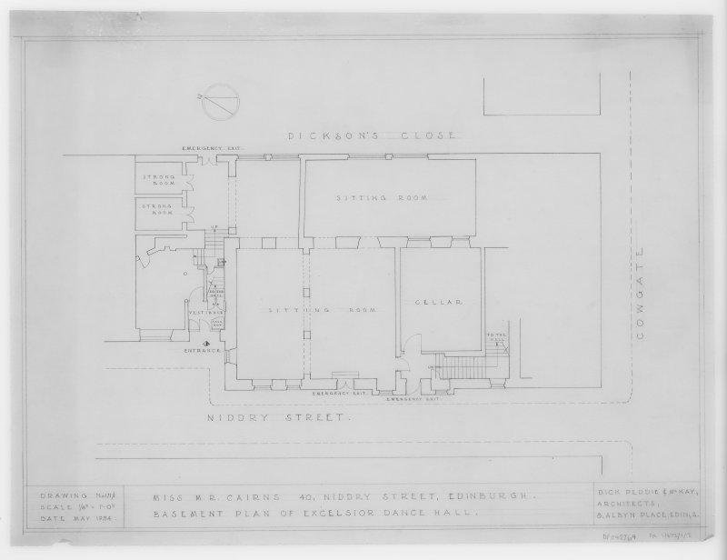 Basement Plan of Excelsior Dance Hall.