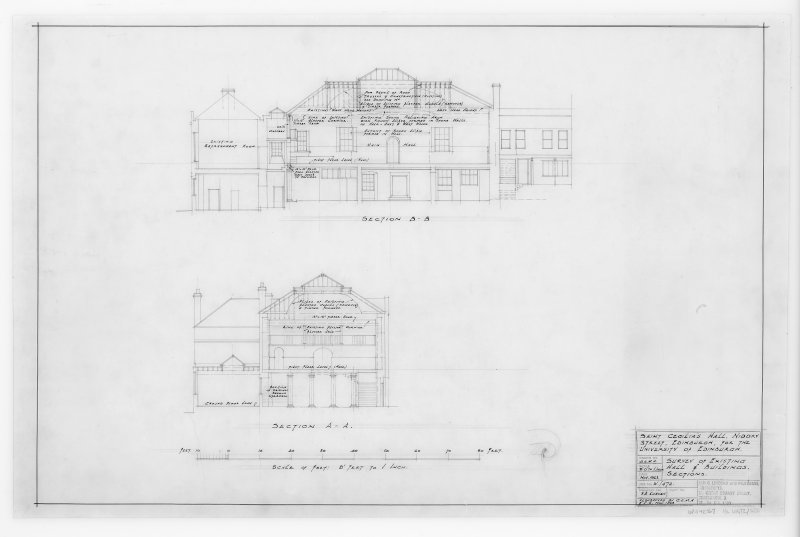 Survey of Existing Hall and Buildings, Sections.