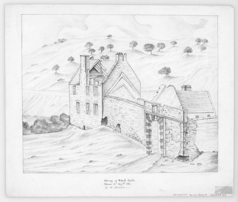 Digital copy of drawing showing gateway Insc: 'Gateway of Nidpath Castle.  Drawn 19th Augst 1834. by A. Archer' Insc verso: 'To the left of the gateway is the remains of a house said to have been built for a friend of the Duke of Queensbury'