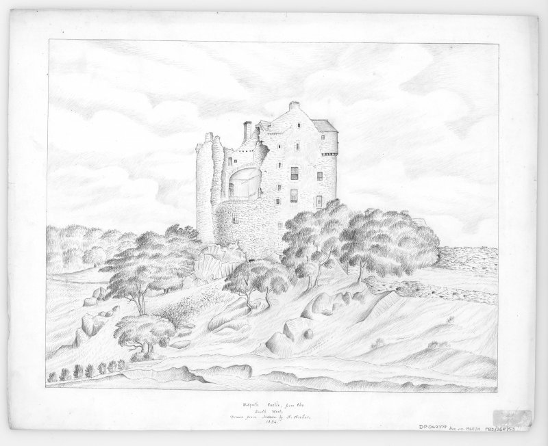 Digital copy of drawing showing view from South West Insc: 'Nidpath Castle, from the South West, Drawn from Nature by A. Archer, 1834' Insc verso: 'Shewing interior of prison, and ring used for the execution of criminals.  dungeons below, entrance to which is here seen, but is chocked up with rubbish.  The large centre window belongs to what is called the drawing toom or Queen Mary's room'