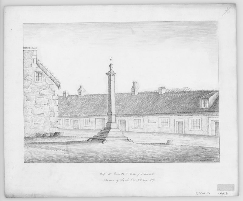 Digital copy of drawing of Mercat Cross. The surrounding buildings are shown as thatched. Other features of interest include a dormer window in a thatched roof, and a variety of chimney heads and pots.