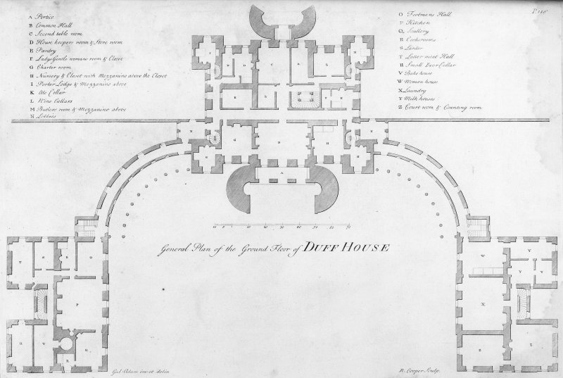 "Engraving showing general ground floor plan of Duff House, Aberdeenshire. Insc: ""General Plan of the Ground Floor of Duff House. Gul: Adam im : et delin. R: Cooper, Sculp''."