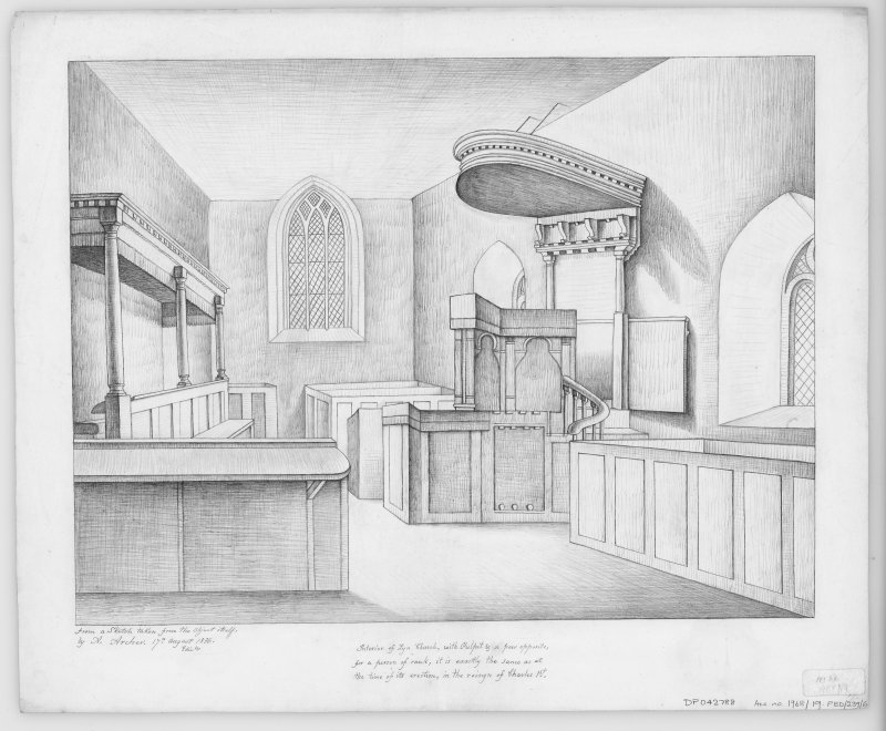 Digital copy of drawing of interior. Sketch view including pulpit.