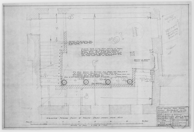 Survey of Existing Buildings, Detail of South Area under Main Hall.